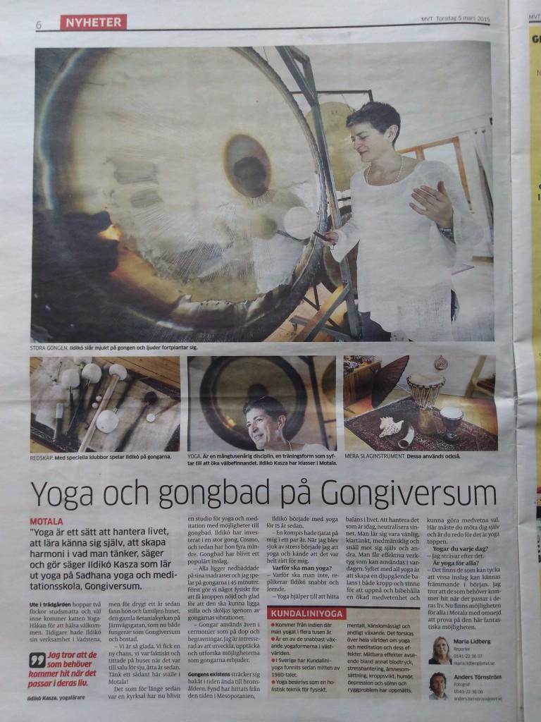 MVT Torsdag 5 Mars 2015 - Yoga och gongbad på Gongiversum
